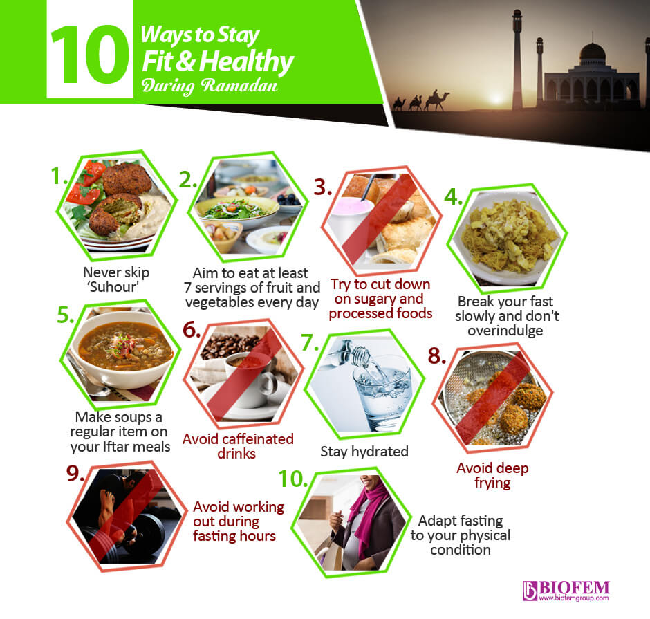 10 ways to stay fit and healthy during ramadan
